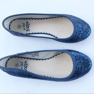 Mini Boden Glitter Flats 2.5 Size 34 sparkle shoes